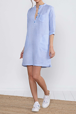 Women's blue and white striped linen shirt dress