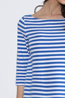 maglietta cotone rigato donna a righe bianco blu, stile marinaro