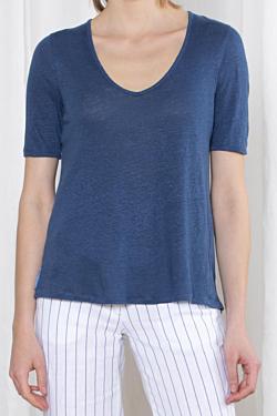 maglietta lino collo V, navy blu scuro