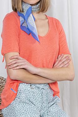 women´s Orange Coral V-neck Linen T-shirt