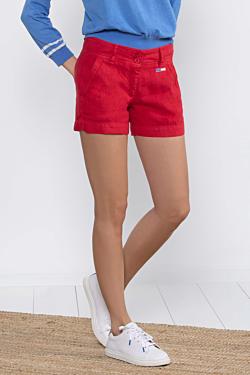 Short lino rojo mujer
