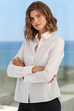 white shirt with golden buttons