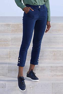 navy blue velvet trousers