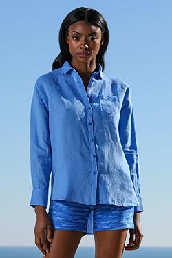 camisa lino azul celeste