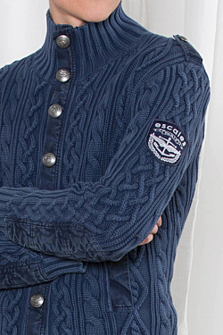 Cotton Cable-knit Cardigan for Men in Navy Blue color.