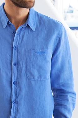chemise en lin pour homme avec surpiqure en zigzag