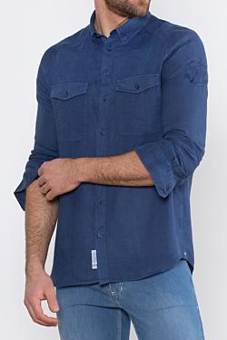 Chemise bleue en lin bleu marine