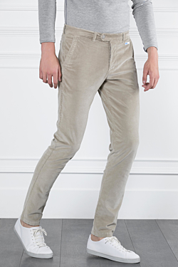 Corduroy 5-pocket trousers in Cotton-Modal and Elasthane Beige Man
