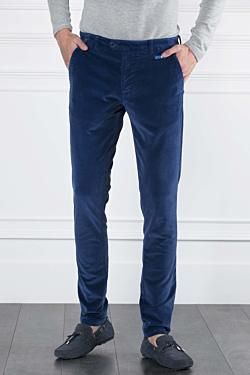 Corduroy 5-pocket trousers in Cotton-Modal and Elasthane Dark blue Man