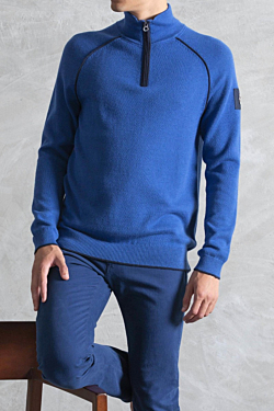 Blue Zip-up Mock Neck Sweater for man