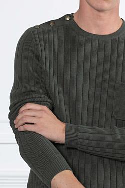 Jersey con cuello redondo y punto canalé Verde Hombre