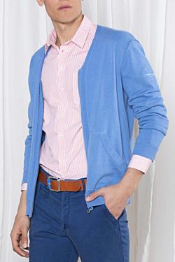 cardigan scollo v light blue da uomo