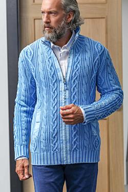 cardigan uomo a trecce light blue in cotone