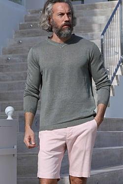Green linen sweater men´s knitwear