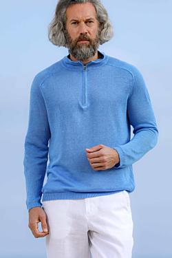 pull bleu en lin frais, pour homme