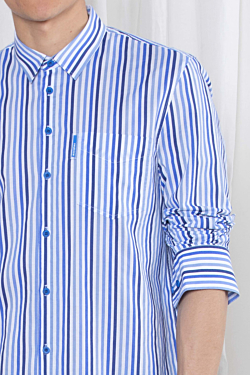 Cotton striped shirt for men with a chest pocket