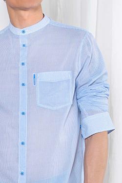 Camisa Rayas Azul y Blanca de voile de algodón hombre