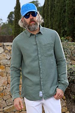 camicia di lino verde foresta da uomo
