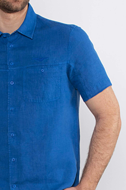 Men´s Blue short sleeves Linen Shirt