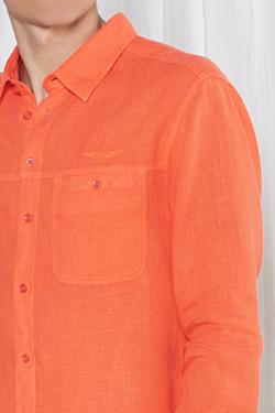 chemise en lin orange pour homme