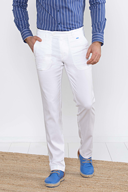 white tencel chino trousers for man