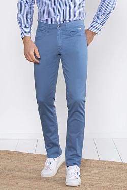 Pantalon 5 poches bleu acier homme