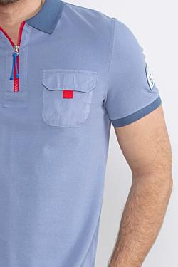 polo bleu régate piqué de coton pour homme
