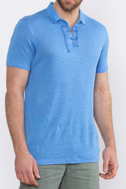 Linen Polo shirt for Men in Blue color