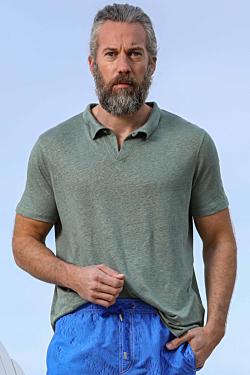 khaki Green Linen Polo for men