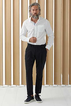Élégant pantalon à pinces confectionné dans un agréable tissu de Laine-Élasthanne
