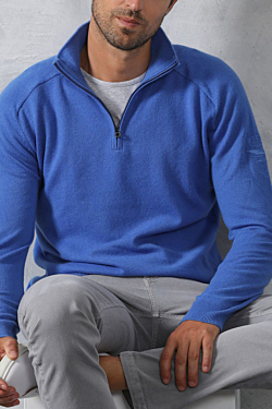 Jersey 100% Cachemira Azul de Hombre