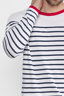 Men´s White and Blue cotton Striped T-shirt