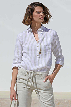 Camicia lino a righe
