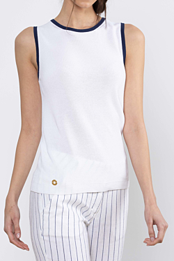 fresh white sleeveless jumper for woman