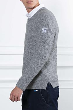 Jersey tricotado en lana dibujo trenzado Gris Hombre