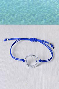 Bracelet plaqué au Rhodium et Cordon Japonais Bleu