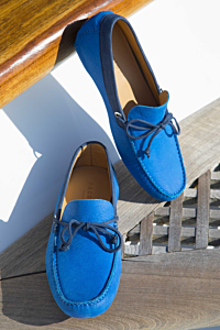 Blue Leather loafers Moccasins for Men