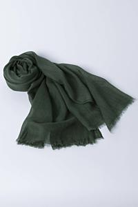 Silk and wool blend scarf Green Woman Man