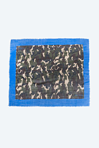 Silk and wool blend scarf Camouflage and blue Woman Man