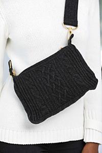Woolen crossbody bag in cable-knit design Dark grey Woman