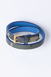 Double Leather bracelet Camouflage pattern and blue Woman