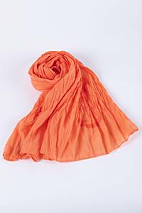 Foulard Orange Voile de Coton avec Ancre de Bateau