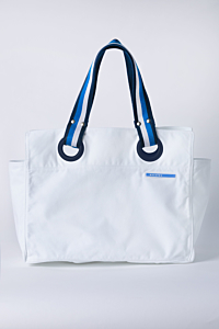 Big White Cotton Beach Bag with Striped Blue tape on the Straps