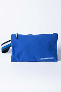 blue cotton handbag with striped handle