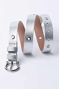 Slim silver leather belt for woman
