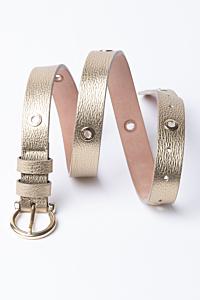 Cinturón de Piel metalizada dorada