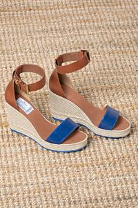 sandales cordage et cuir avec sangle cheville