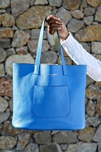 blue leaher bag