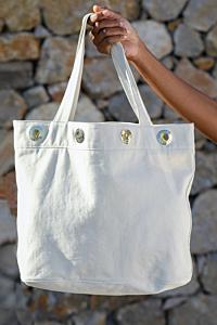 beige canvas bag