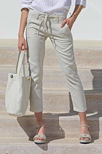 pantalons lin beige